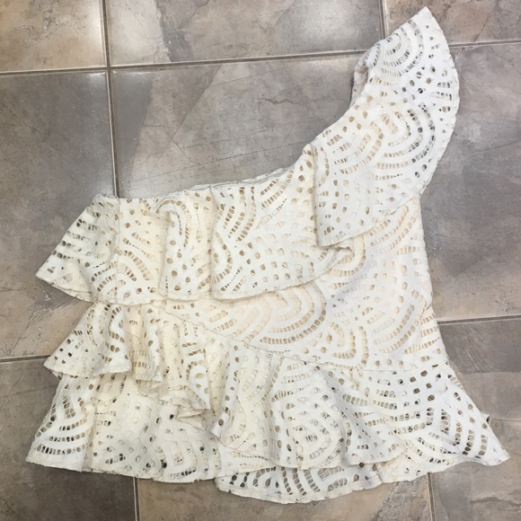NWT Tiered Ruffle One Shoulder Top Lace Ecru S